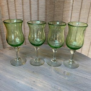 NWT Pottery Barn Vintage style etched Wine Glasses